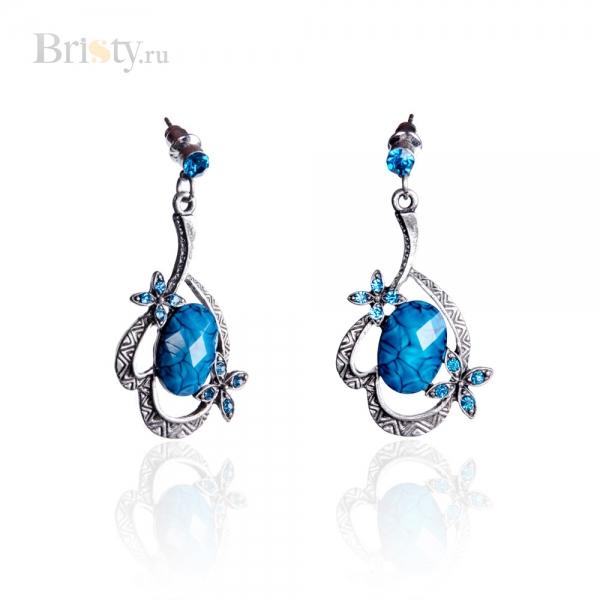 Изящные серьги с синими камнями