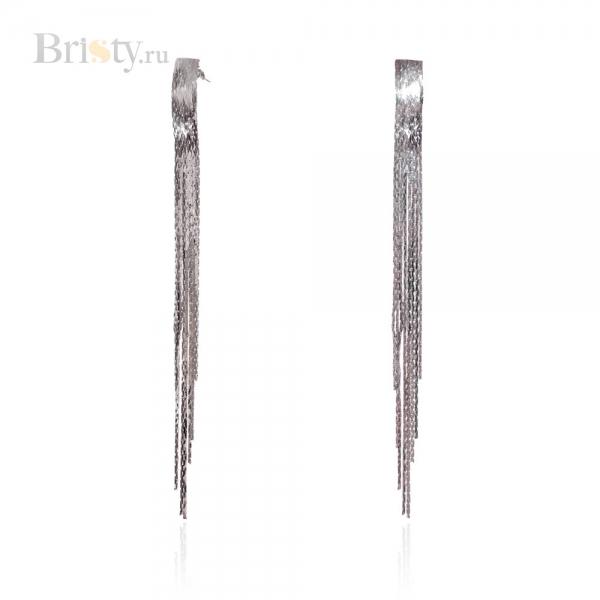 Длинные висячие серьги с серебряными цепочками