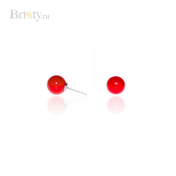 Серьги-пусеты с красными шариками
