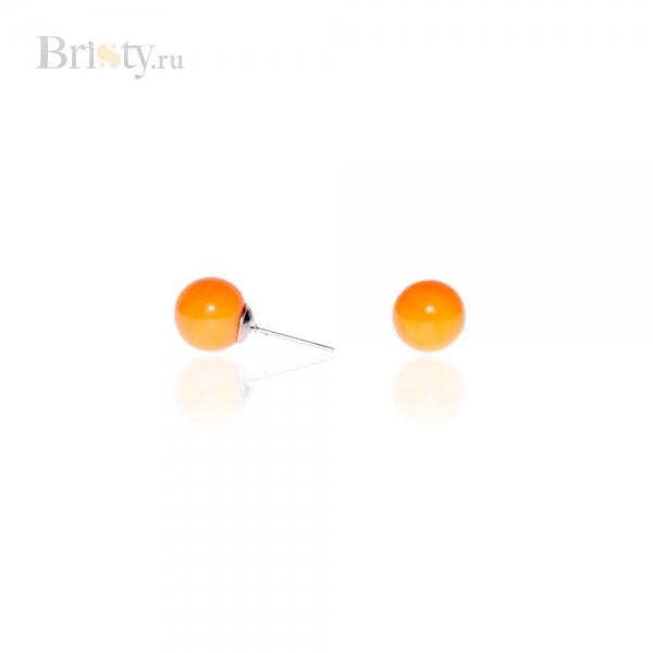 Серьги-пусеты с оранжевыми шариками