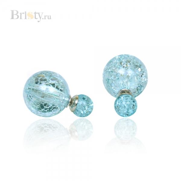 Серьги-шары стеклянные голубые в стиле Dior