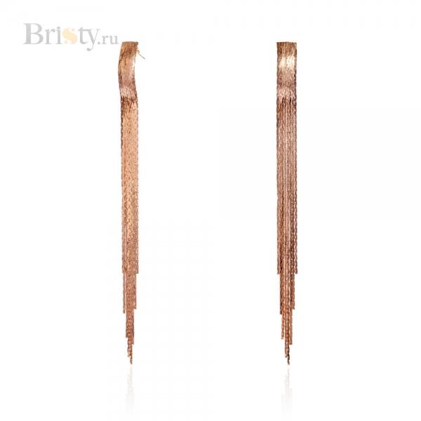 Длинные висячие серьги с золотыми цепочками