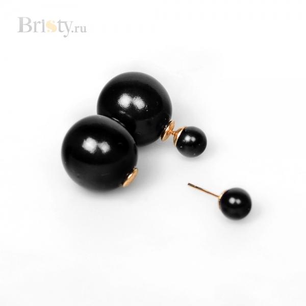 Серьги-шары черные в стиле Dior