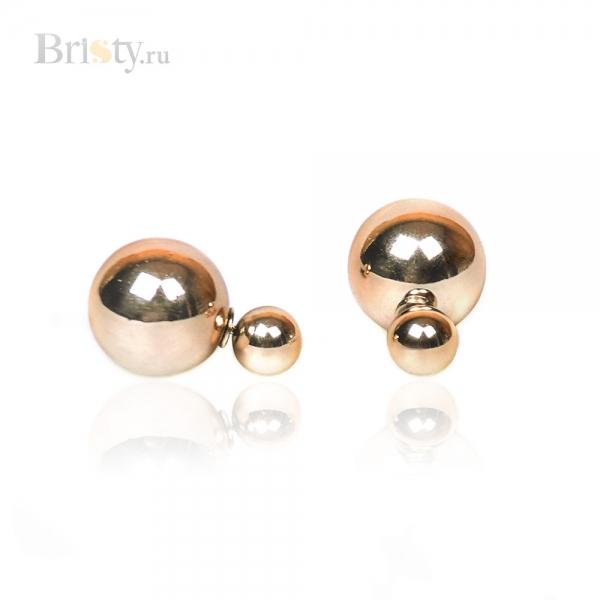 Серьги-шары золотистые в стиле Dior