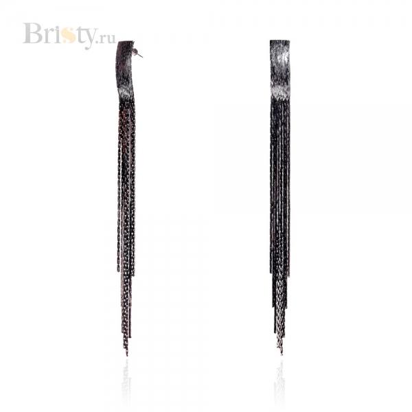 Длинные висячие серьги с черными цепочками