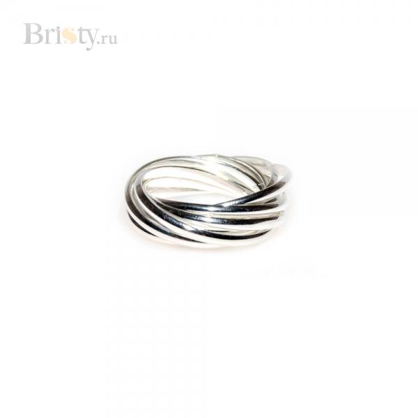 Оригинальное кольцо сплетенное из 9 тонких колечек