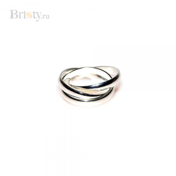 Оригинальное кольцо сплетенное из 3 тонких колечек