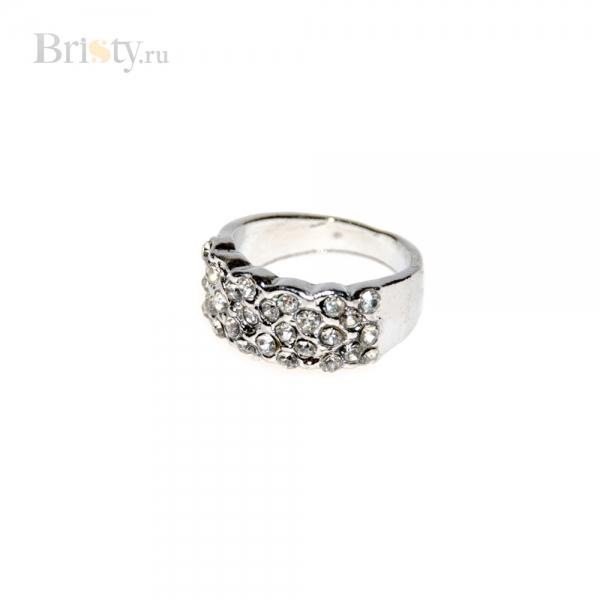 Широкое серебряное кольцо со стразами