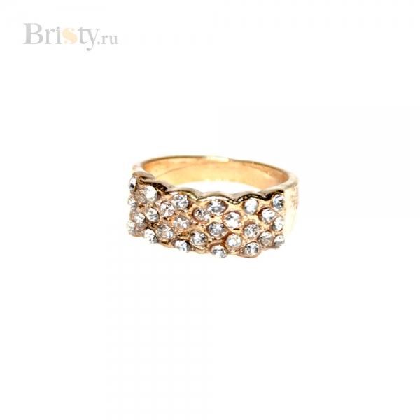 Широкое золотое кольцо со стразами