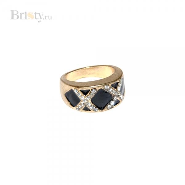 Золотое кольцо с черной эмалью и стразами
