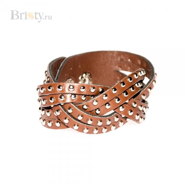 Плетеный кожаный браслет с кнопками