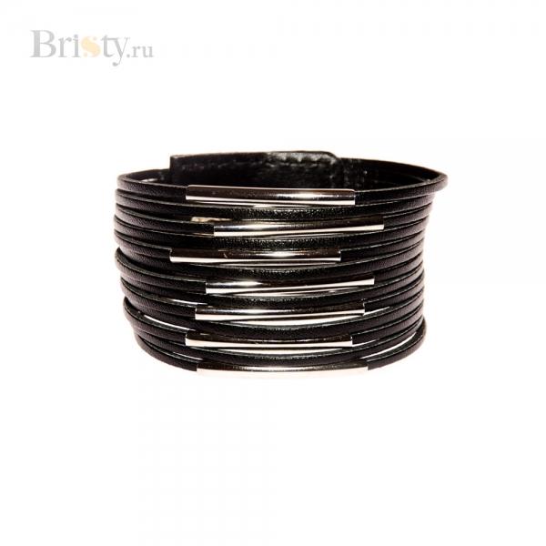 Черный кожаный браслет из тонких ремешков
