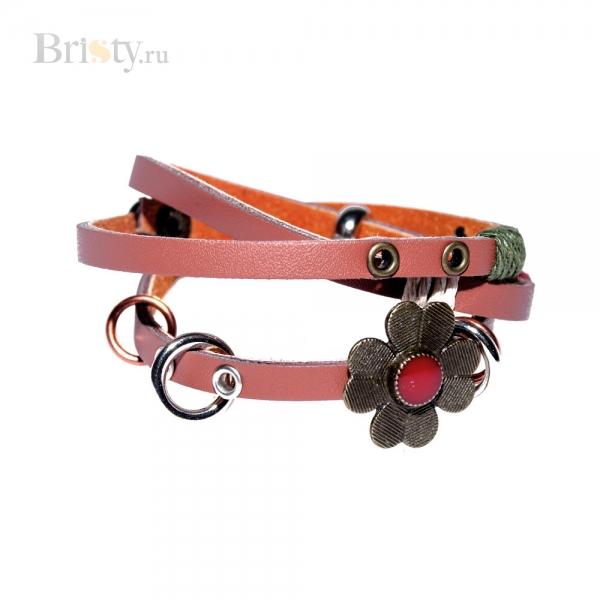 Стильный винтажный браслет на кожаном ремешке с цветком