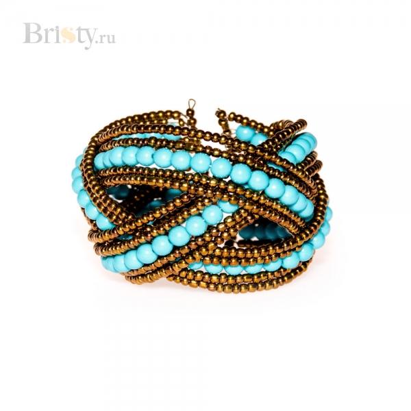 Плетеный жесткий браслет с бусинами