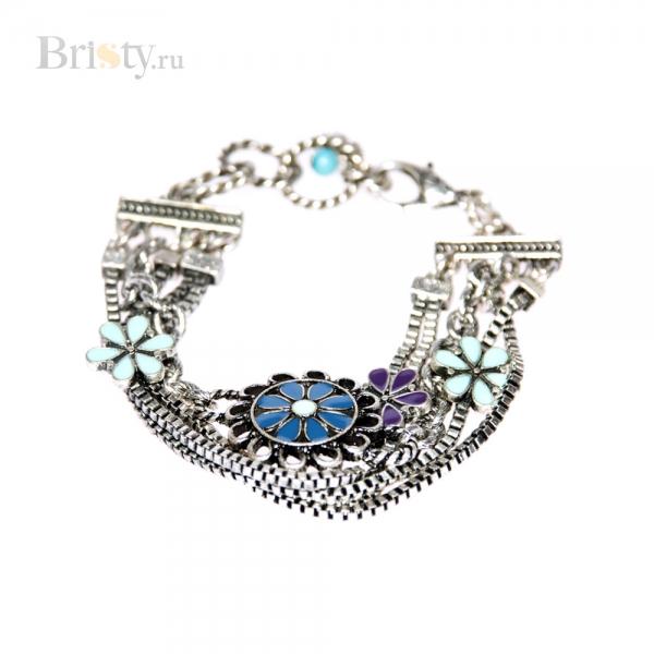 Элегантный браслет с цепочками и цветными вставками