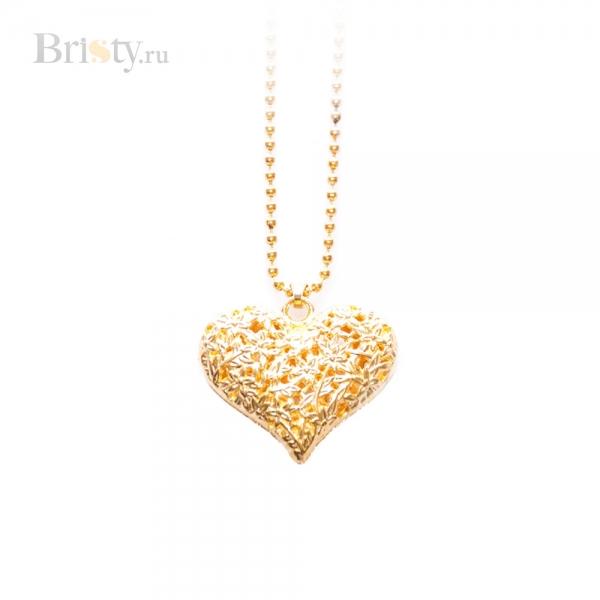 Золотая подвеска в форме сердца