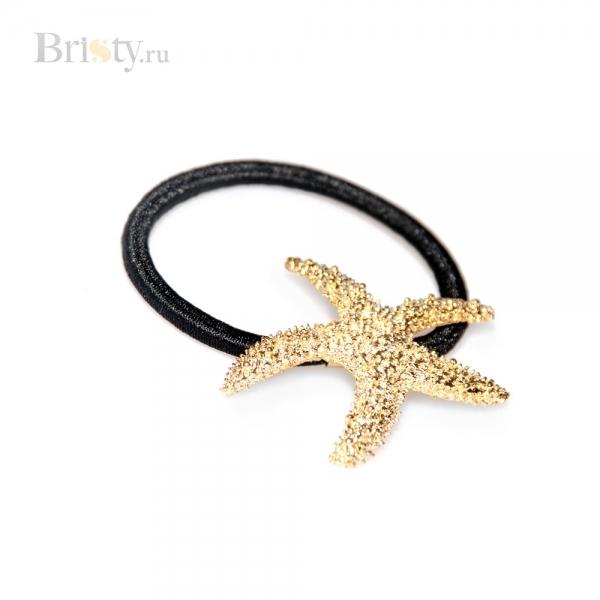 Резинка для волос с золотой морской звездой
