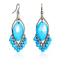 Длинные висячие серьги с синими камнями