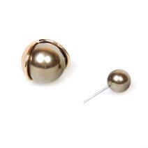 Серьги-шары коричневые с золотом в стиле Dior