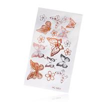 Флеш Тату №2 золотые и серебряные бабочки, 6х10 см