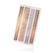 Флеш Тату №4 золотые и серебряные листья, 6х10 см