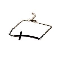 Черный браслет на цепочке с крестом