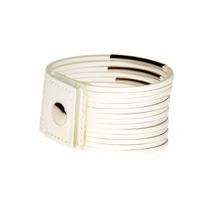 Белый кожаный браслет из тонких ремешков