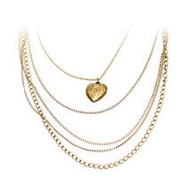 Колье с цепочками и подвеской в виде сердца